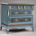 Antik & Alte Möbel - Kommode Holz blau blumen 3 Schubladen 18.Jahrhundert / 19.Jahrhundert